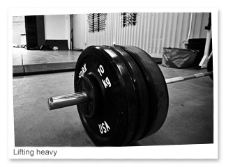 Lifting heavy.